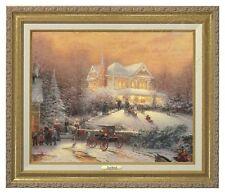 Thomas Kinkade - Victorian Christmas II Canvas Classic (Gold Frame)