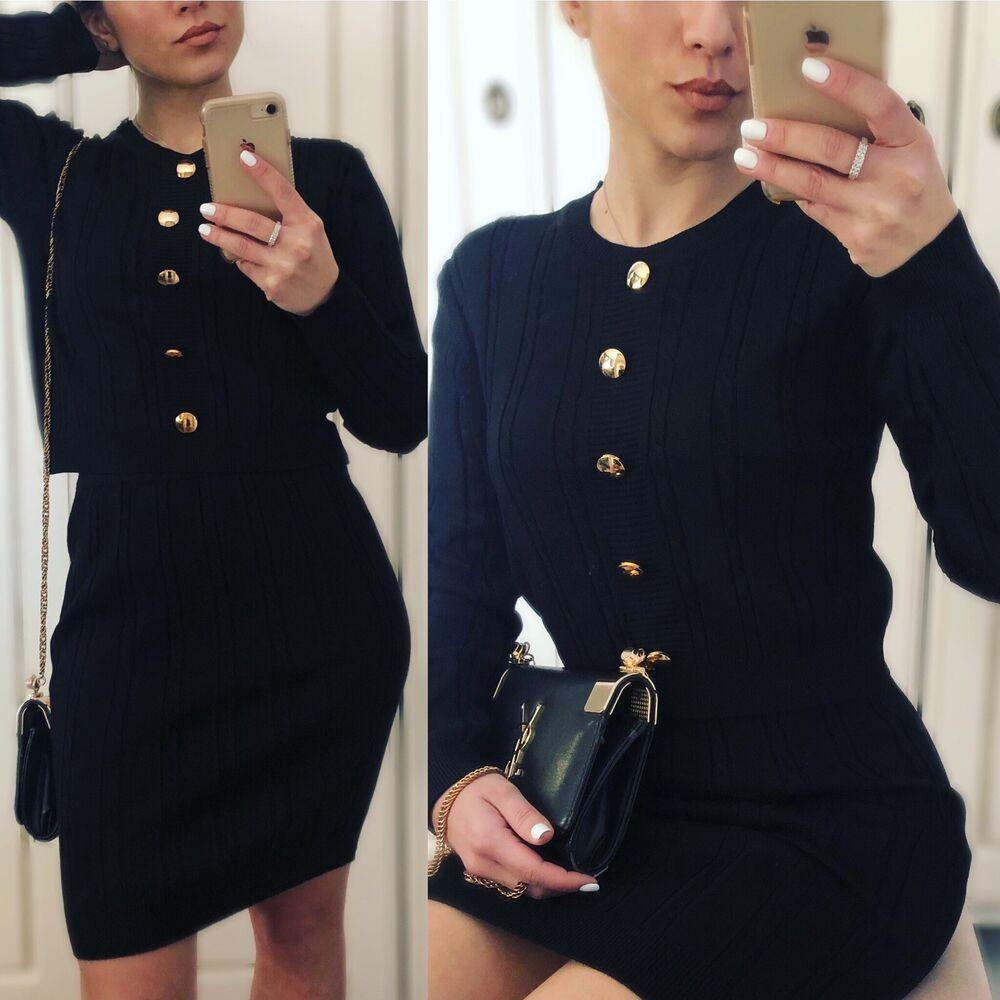 Femme Deux Pièces Costume, Pull Et Jupe En Tricot Torsadé Set, Taille S/m
