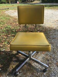 Vintage Danish Mid Century Yellow Office Chair W Chrome Base Swivel Kentucky Ebay