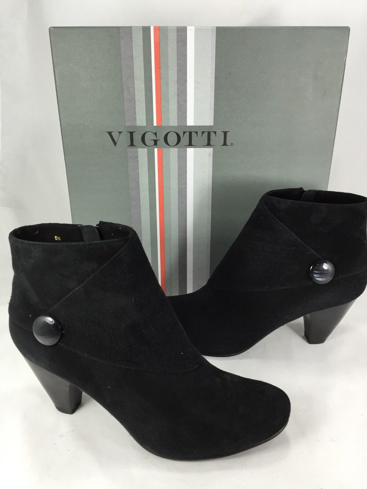 WOMEN'S VIGOTTI JONIE BLACK SUEDE ANKLE BOOTS US SZ 8.0 A NARROW NEW DISPLAY