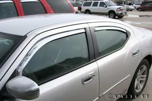 Fits Dodge Charger 2005-2010 Chrome Trim Window Visors Set of 4