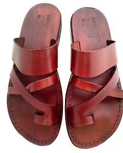 Marron-Sandales-En-Cuir-Pour-Hommes-Et-Femmes-Biblique-Chaussures-De-Jesus-36-46