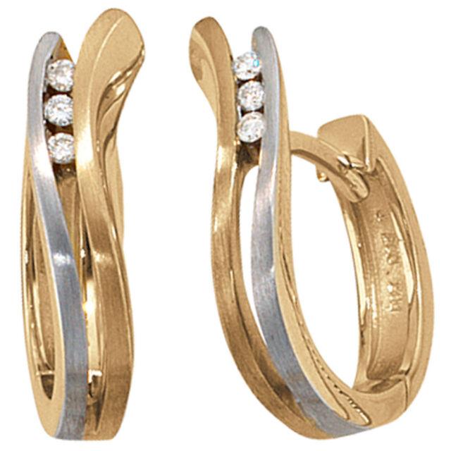 Damen Creolen 585 Gold bicolor matt 6 Diamanten Brillanten Ohrringe Goldohrringe