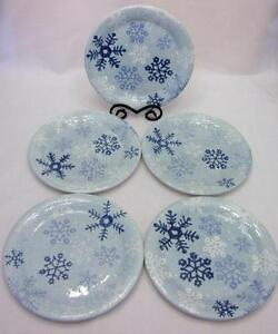 Image is loading Target-Home-WINTER-FROST-Set-5-Dinner-Plates- & Target Home WINTER FROST Set / 5 Dinner Plates Blue Snowflakes ...
