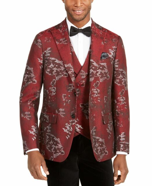 Tallia Mens Blazer Red Size Large L Printed Textured Slim Two-Button $350 #107