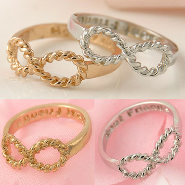 Best Friends Engraved Lucky 8 Friendship Infinity Ring Women Jewelry Gold Silver
