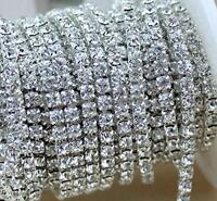 10 Yard Crystal Rhinestone Close Chain Clear Trim Sewing Craft 2mm Silver Color,