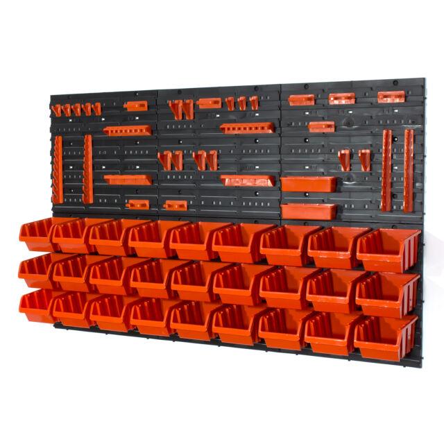 Set 27 contenitori IN-Box + ganci + 6 pannelli a parete per officina garage viti