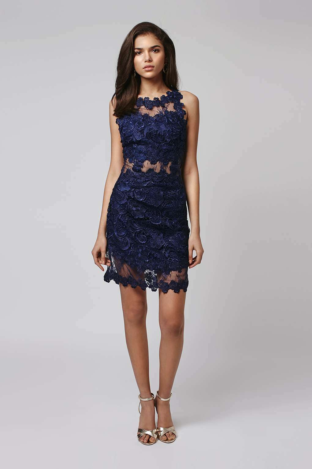 TOPSHOP Strappy Lace Body-Con Dress (size 8)