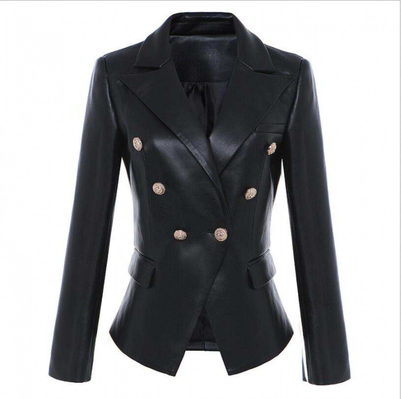 JK 2018 Winte s-XXXL Plus Size Women's Long Sleeve Slim PU Leather Fashion