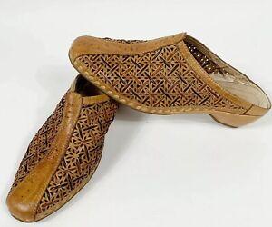 PIKOLINOS-Womens-Sz-8-Brown-Leather-Lazer-Cut-Slip-On-Mules-Shoes-Handmade