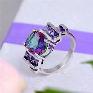 Oval-Rainbow-Topaz-And-Purple-Cubic-Zirconia-Silver-Plated-Ring-Various-Size