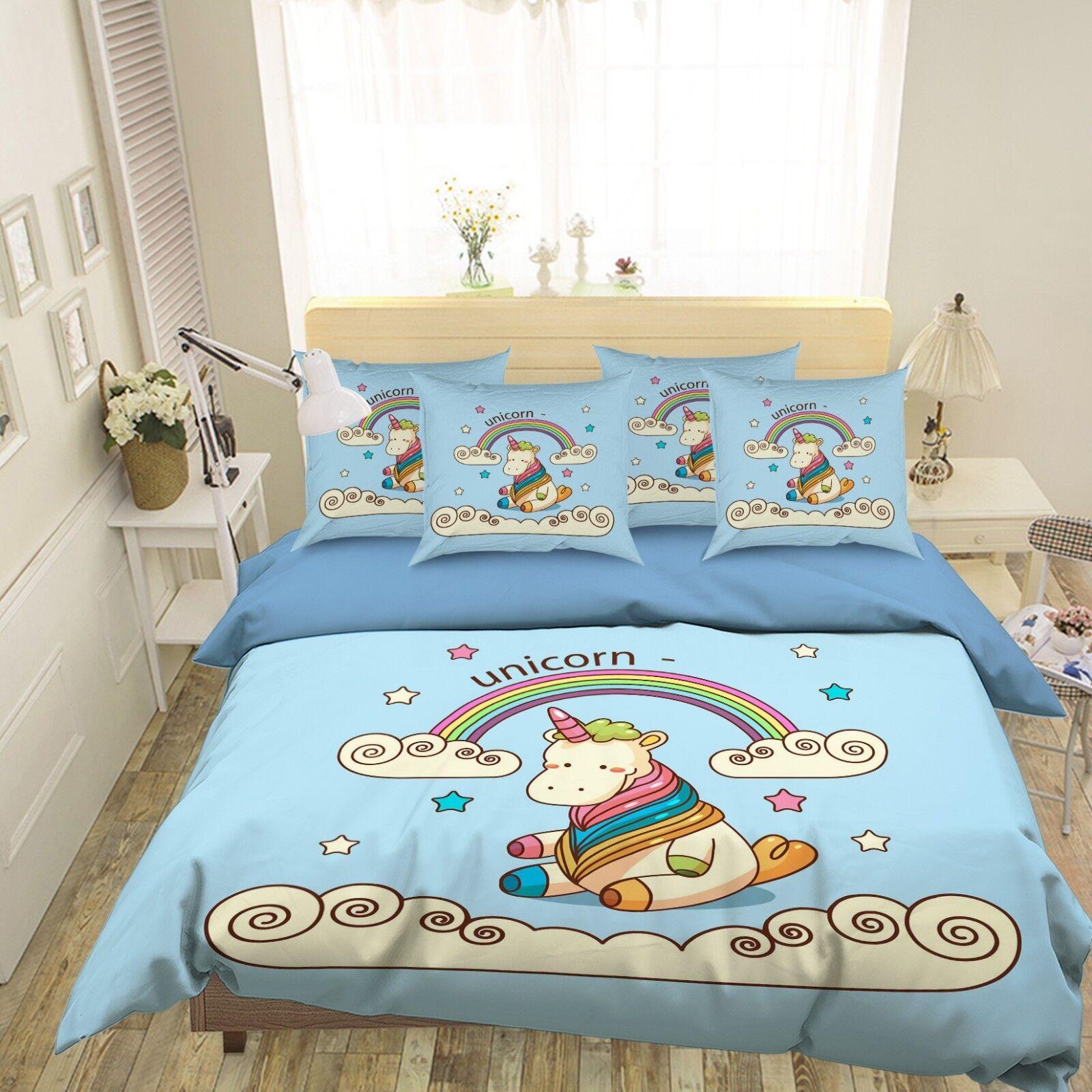3D Rainbow Unicorn 8 Bed Pillowcases Quilt Duvet Cover Set Single King UK Summer