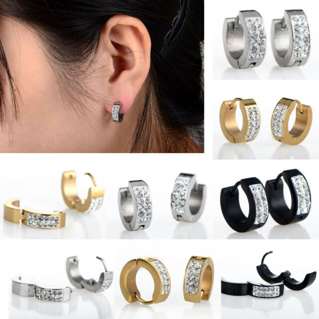1Pair Punk Mens Women Crystal Stainless Steel Ear Hoop Stud Earrings Gauges