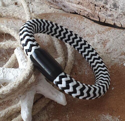 Armband Segeltau 10mm Schwarz Weiß gestreift mit Edelstahl Magnetverschluss