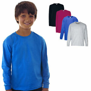 Fruit-of-the-Loom-Kinder-Langarm-T-Shirt-Kids-Longsleeve-Shirt-104-164
