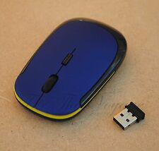 Slim Wireless Optical Mouse USB 4 Laptop Notebook Blue - for travel, Car or Boat
