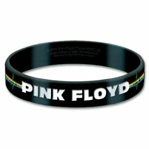 Pink-Floyd-Official-Wristband-Bracelet-Band-Logo-Black-Rubber-Gummy-New-Sealed