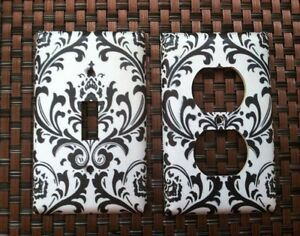 Black And White Damask Light Switch Plate Cover Choose Size Cover Ebay