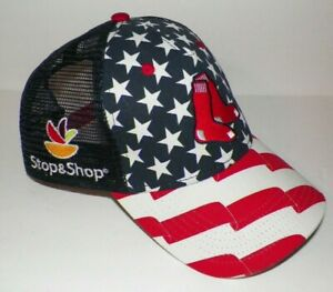 Details about Adult One Size 47 Brand Boston Red Sox Stop & Shop USA Flag  Mesh Cap Hat