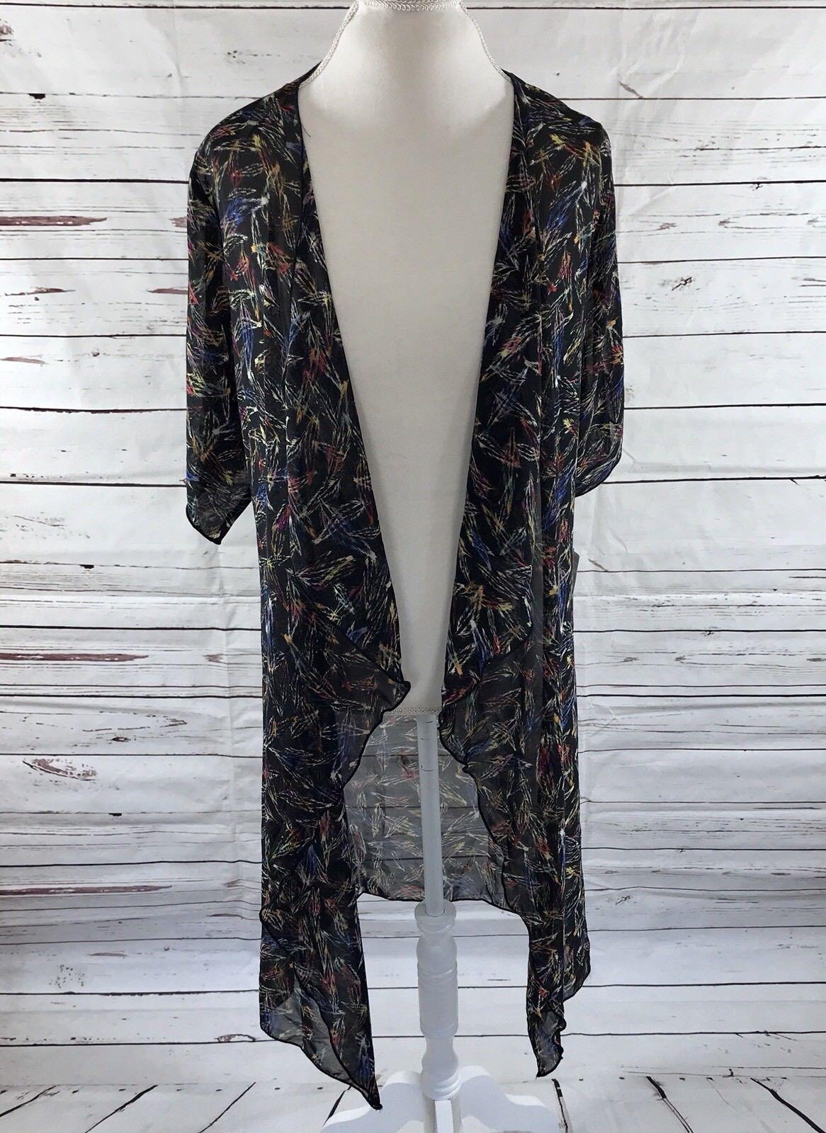 LulaRoe Shirley Kimono schwarz Blau Rosa Gelb Feathers Größe Small