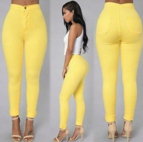 Women Stretch candy Pencil Pants High Waist Skinny Jeggings Jeans Slim Trousers