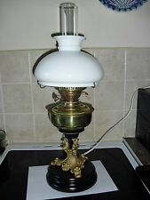 lovely old oil lamp with heavy ceramic base converted to electric,