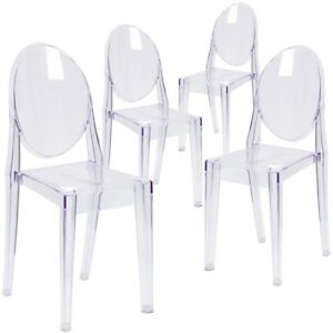 Image Is Loading 4 Pk Ghost Side Chair In Transparent Crystal