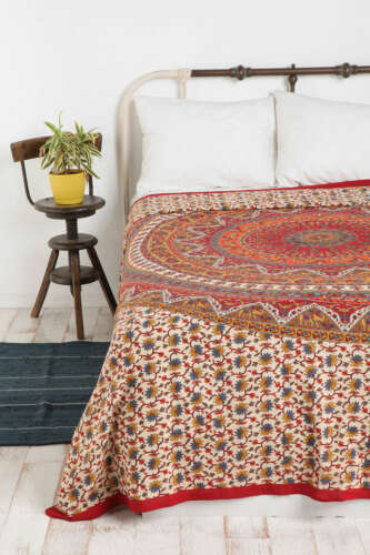 Orange Elephant Mandala Wall Hanging Indian Bedding Tapestry Bohemian Bedspread