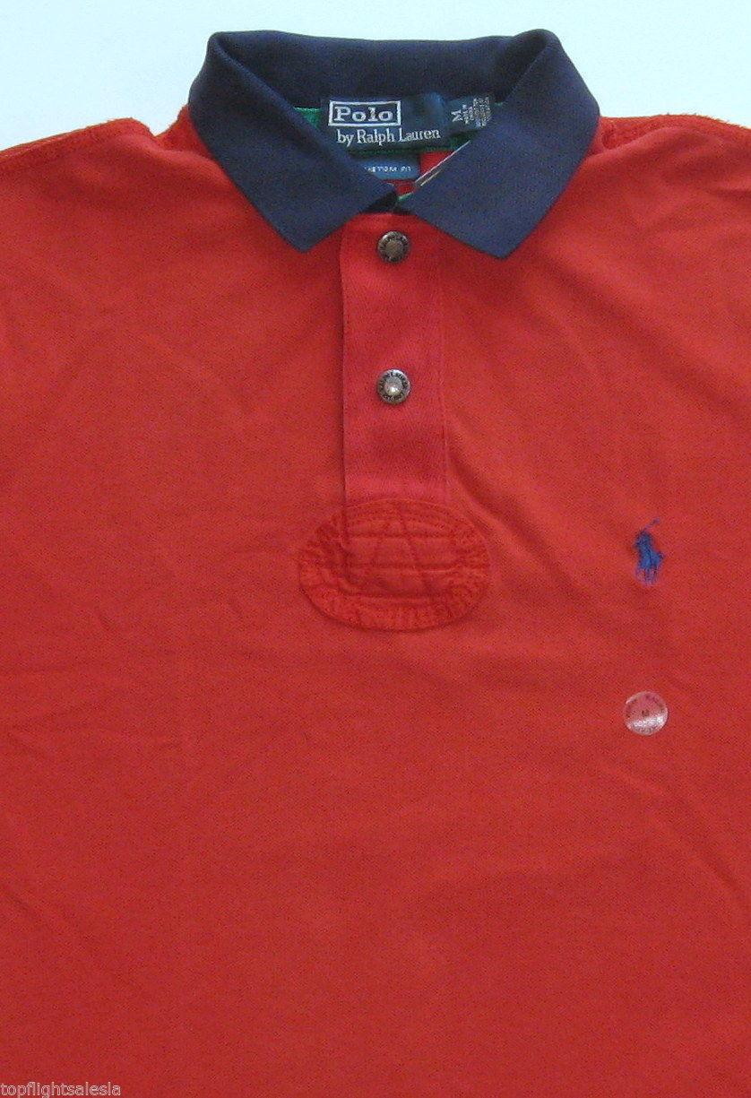 New Polo Ralph Lauren Red Indian Badge Mesh Cotton Polo Shirt   XLT