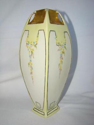 "Antique ART DECO Hand Painted Soft Yellow Porcelain 10"" VASE, Germany"