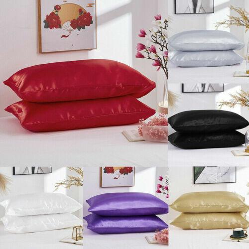 2Pcs Queen King Satin Pillowcase Pillow Case Cushion Cover Pillowcase Bedding