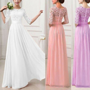 Women-Long-Lace-Evening-Formal-Cocktail-Party-Gown-Prom-Bridesmaid-Maxi-Dress-AU