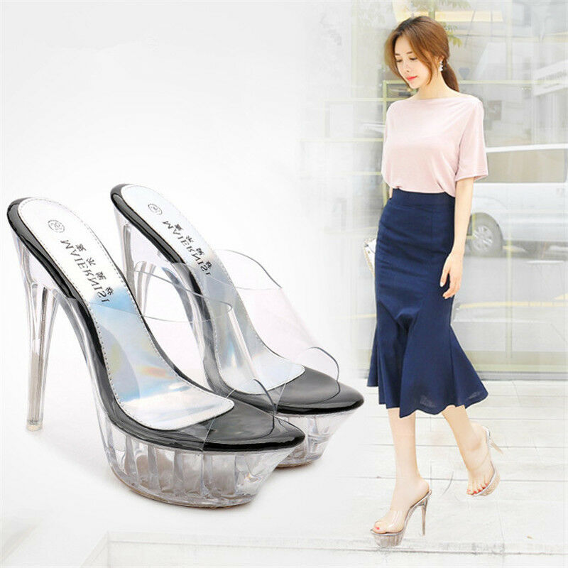 Women Party Shoes Stiletto Open Transparent High-heeled Slip Female Sandals Open Stiletto Toe 9cd482