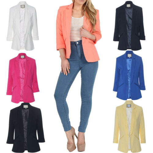 New Womens Stylish 3//4 Length Turn Up Sleeve Tailored Boyfriend Ladies Blazer