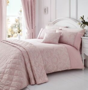 Delightful Image Is Loading LAURENT PINK WOVEN DAMASK QUILT DUVET COVER SETS