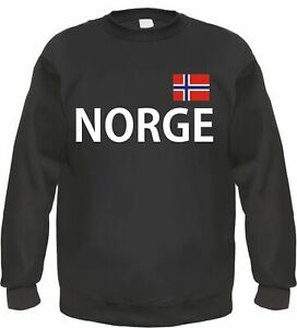 check out d7610 52c2e Details zu NORGE / NORWEGEN Sweatshirt Pullover - S bis 3XL - Text / Flagge  Druck - Schwarz