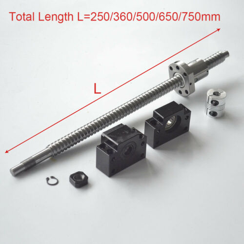 Rolled Ballscrew C7 Anti-Backlash Ballnut L250//360//500//650//750MM