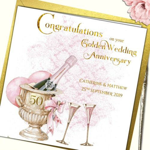 Personalised Golden Wedding Anniversary Card Champagne and Roses