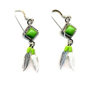 Genuine-Gaspeite-Beaded-Sterling-Silver-Feather-Dangle-Earrings-Native-American