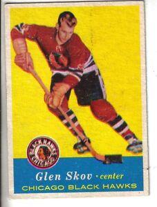 1957-58-Topps-Hockey-Card-30-Glen-Skov-Chicago-Black-Hawks-EX
