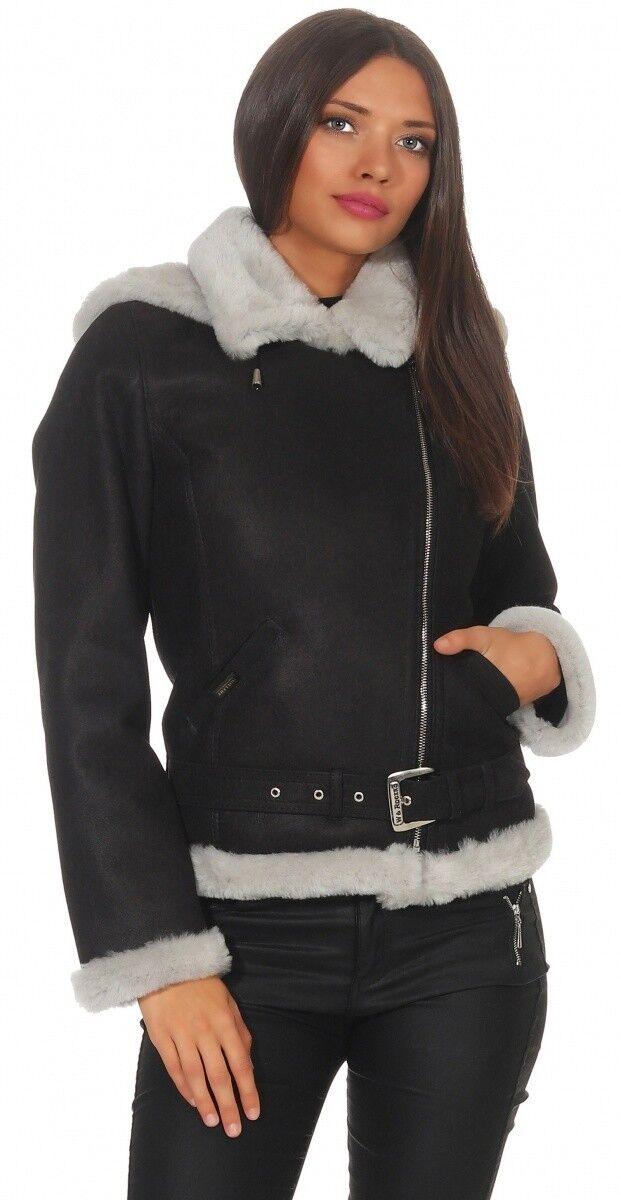 Chaqueta Piel Oveja - Jessy Negro blancoo Mujer de  Invierno Cuero Moto  punto de venta barato