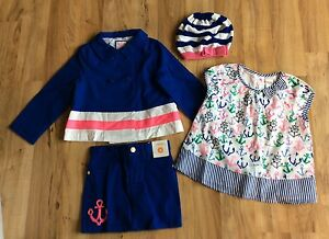 NWT GYMBOREE STRIPES AND ANCHOR GIRL PEA COAT Skirt Top Hat Lot Size 4