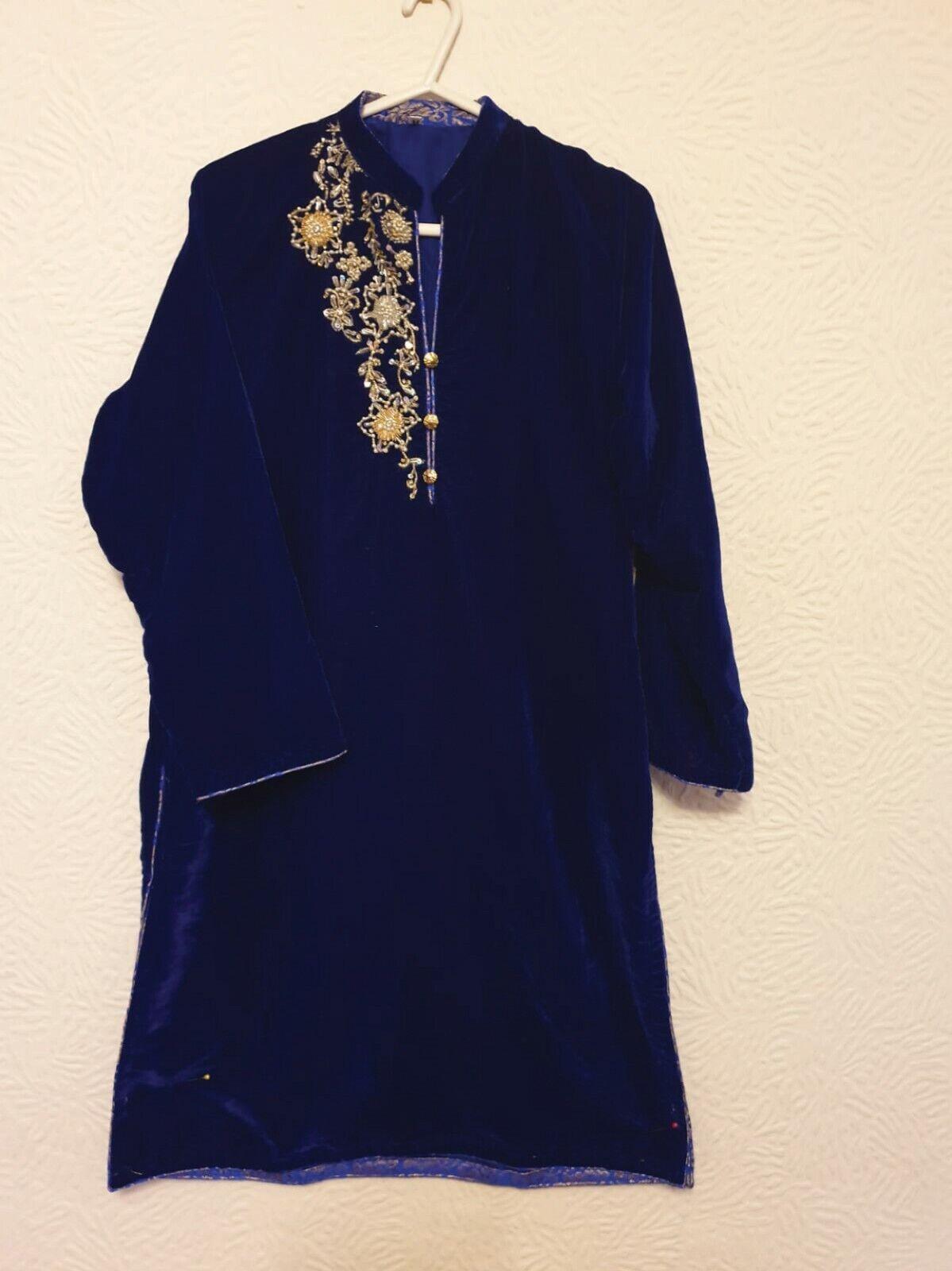 Micro Velvet Hand Embroidered Asian Ready Made Shirt/Kurti Navy Blue /V