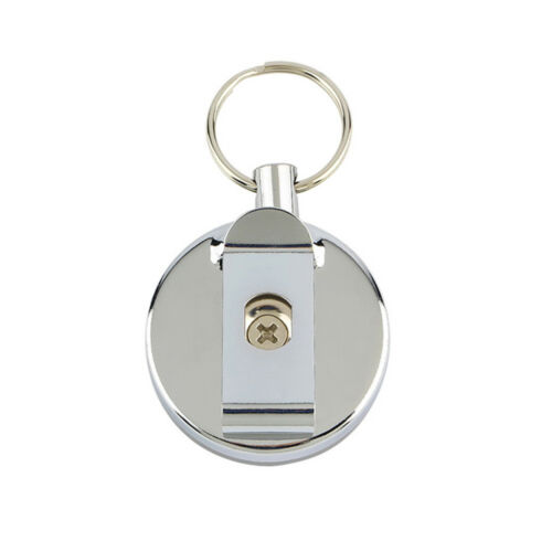 1x Retractable Stainless Steel Card Badge Recoil Ring Belt Clip Key Chain Holder