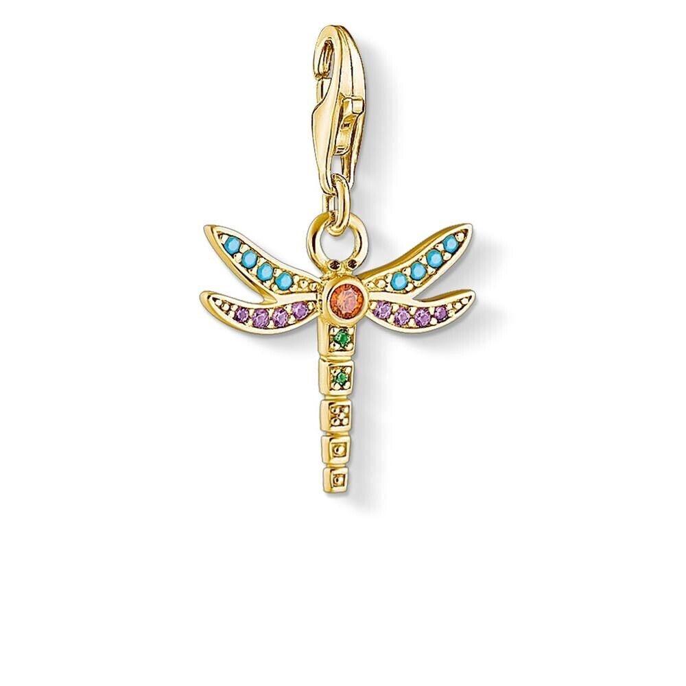 Genuine Thomas Sabo Yellow gold Colourful Dragonfly Charm Pendant CC1758