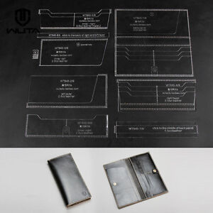 Acrylic long wallet leather template diy leathercraft tool for Leather sheets for crafting