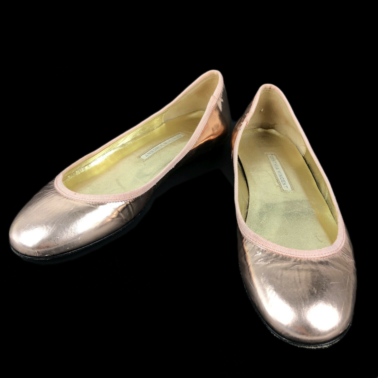 Cynthia 7 Vincent para mujer Talla 7 Cynthia Ballet Zapatos sin Taco Sin Cordones 37 euros oro rosadodo bab87b