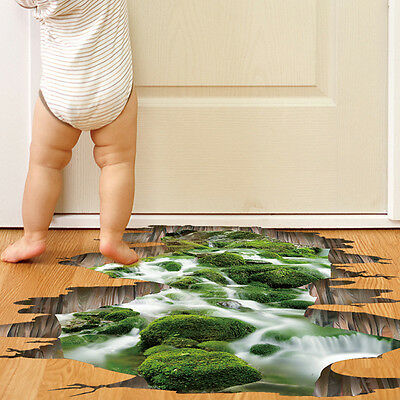 3D Bridge Stream Floor/Wall Sticker Removable Mural Decals Vinyl Art Decors New