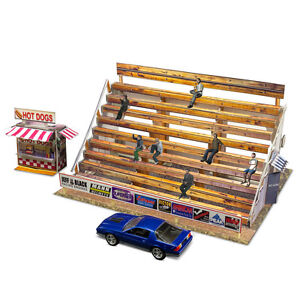 1-64-Scale-Slot-Car-HO-Photo-Real-Bleacher-Hot-Dog-Stand-Track-Layout-Sets